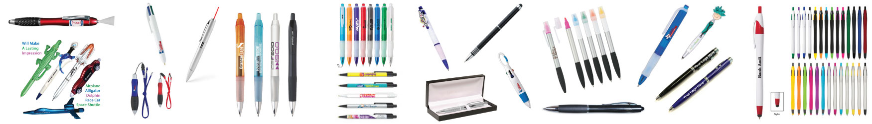 Logo pens, gel ink pens, roller ball, retractable pens, ball point pens, pens with stylus, BIC, Pilot, Scheafer