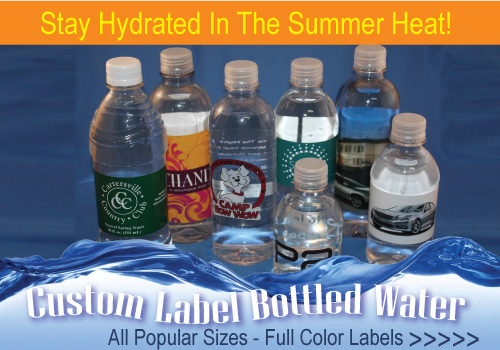 Custom labeled bottled water provides a refreshing look at your logo