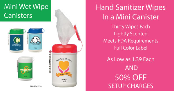 Mini sanitizer wet wipe canisters